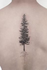 一组简约的小树纹身图案9张