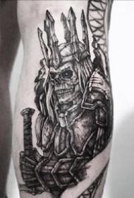 暗黑点刺骷髅--一组9张暗黑点刺骷髅纹身图案
