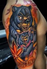 大臂大腿上的一组炫彩纹身图案作品
