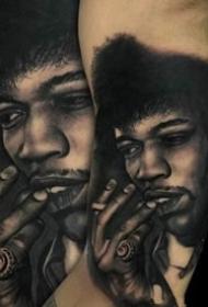 逼真的一组欧美写实人物肖像纹身图案作品