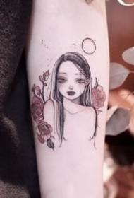 27张可爱美丽的卡通小女孩--纹身师rikkiiies的纹身图案作品