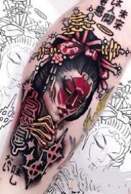 大年夜腿上的国外欧美黑色new school 花腿纹身