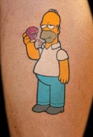 辛普森纹身--卡通动画角色辛普森的黄色纹身图案