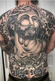 oldschool黑灰风格的9张男士大年夜满背纹身图案作品