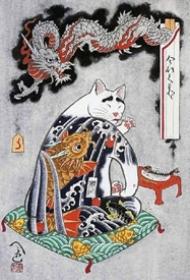 日本插画家田中秀治以猫为主题的浮