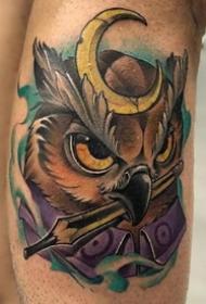 school彩色--一组国外优秀的腿部彩色school纹身图案作品