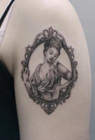 一组欧美风格的黑灰壁画纹身图案作品欣赏