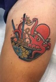 日式拉面风格的个性传统纹身图案欣赏