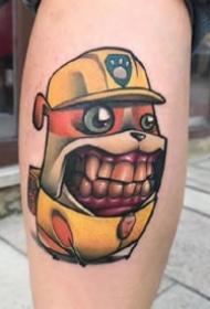 new school创意彩色大牙卡通小怪兽纹身图案欣赏