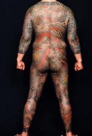 满背通体传统风格一组全胛纹身图案