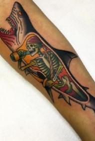 纹身艺术家Sam Kane的原创彩色鲨鱼等动物纹身图