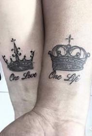 王冠相关的一组皇冠纹身图案作品欣赏