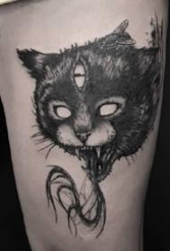 暗黑猫纹身--9张暗黑风格的猫猫纹身图案