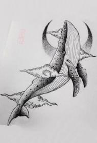 一组和鲸鱼主题相关的纹身图案作品和手稿欣赏