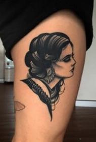 适合拿来做纹身遮盖的黑暗女郎纹身图案欣赏