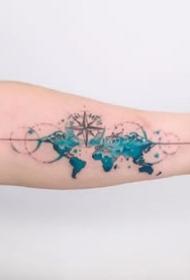 小臂彩色纹身--纹在小手臂上的一组彩色小清新纹身图案