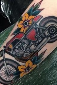 一组复古oldschool风格的摩托车纹身图案图片