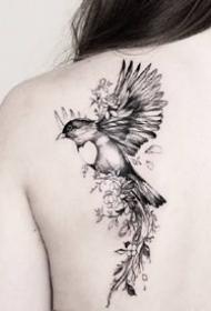 飛鳥燕子--一組很靈動的飛鳥燕子紋身圖案欣賞