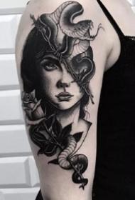 9张手臂上的欧美大黑灰纹身图案欣赏