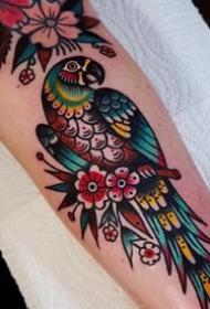 oldschool花鸟纹身-9张彩色的花鸟oldschool纹身图案
