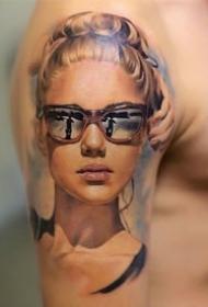 逼真的立体3d人物写实纹身图案一组9张