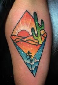 彩色风景纹身--一组几何图形+彩色的小风景纹身图案欣赏