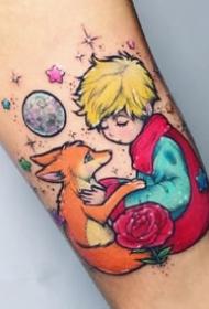 小王子纹身--童话故事小王子和狐狸等的纹身图案作品欣赏