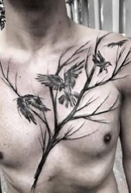 胸部线条纹身--线条感极强的男性花胸个性纹身图案