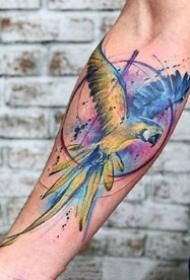 唯美水彩纹身--一组合适手臂等部位的水彩植物纹身图案