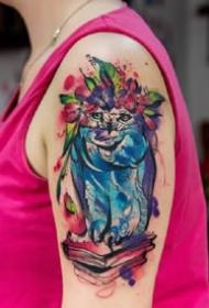 9张重水彩的色动物和植物彩色纹身图案