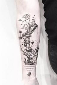 很有线条感的一组简约创意点刺纹身图案