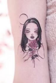 一组按照片设计的卡通女孩纹身图案欣赏