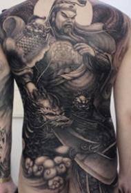 新传统风格的9张男性黑灰大满背纹身图案图片