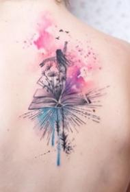 淡淡的水彩色小清新纹身图案作品9张