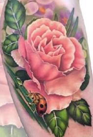 小手臂上的一组粉红色花朵纹身作品图片