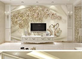 欧式豪华奢侈电视墙效果图
