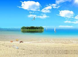 蓝天白云晴空万里的美景