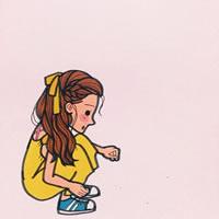 卡通伤感孤独小女孩头像