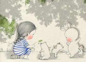 小女孩與兔子的可愛卡通壁紙