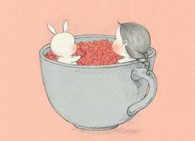 小女孩與兔兔生活的卡通壁紙第二波