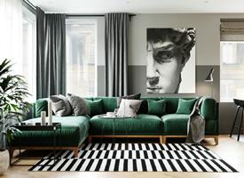 深綠色搭配原木的兩居室裝修效果圖