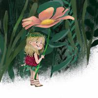 清新绿色背景女生卡哇伊卡通头像