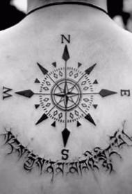 一组指南针相干的纹身作品图案8张
