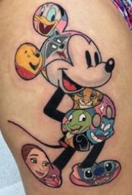 小时候动画片里的卡通角色彩色纹身图案作品