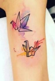 8张水彩色千纸鹤纹身图案图片欣赏