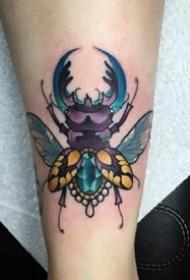 一組彩色昆蟲動物系列的school紋身圖案欣賞