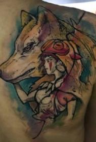 水彩风格的凌乱线条创意纹身作品图案