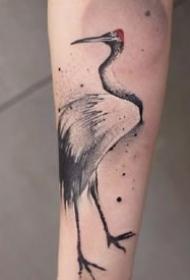 黑色调的一组中国风水墨飘逸纹身图案作品