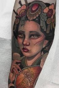 一组彩色的school欧美女郎纹身作品图案
