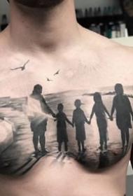 几张男性的黑色大花胸纹身作品图片